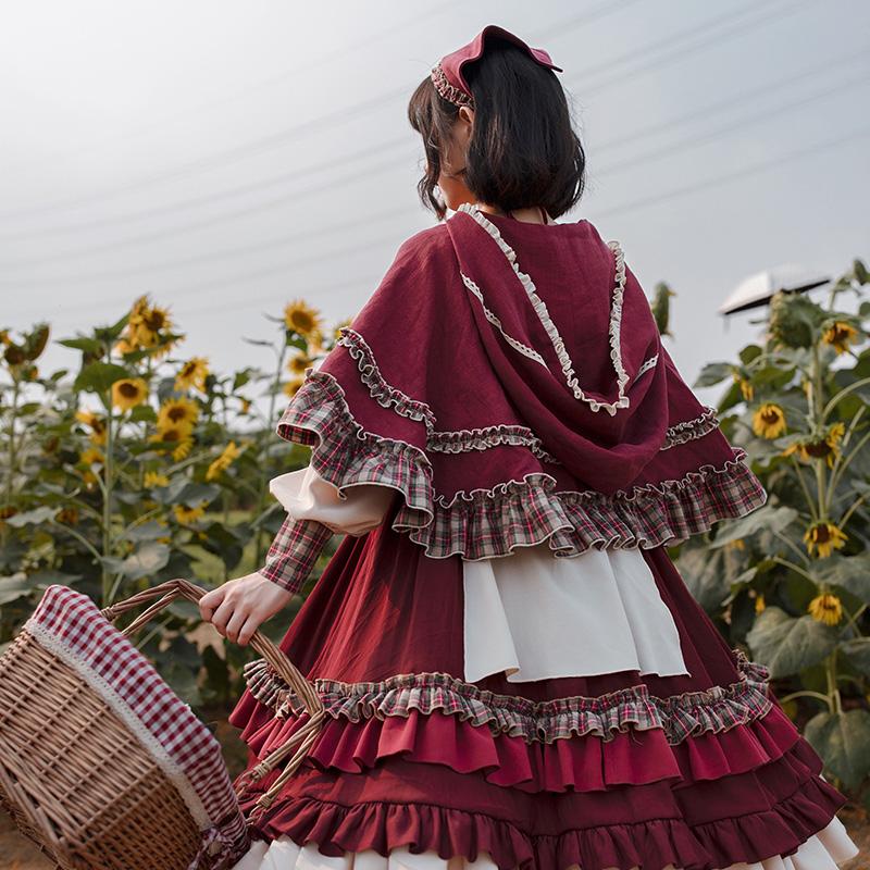 秋款 超大裙摆 三件套 洋装 lolita 原创设计 withpuji op 小红帽