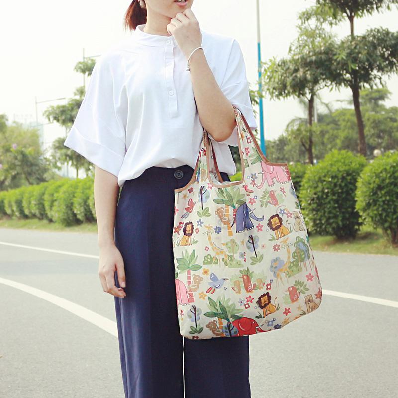 购物袋新款日本时尚便携单肩手提卡通超市可折叠环保袋买菜包促销