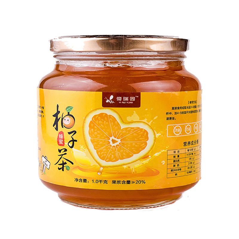 倚瑞园原装蜂蜜柚子茶1000g 时尚风味水果茶蜜炼酱冲饮品含果肉高