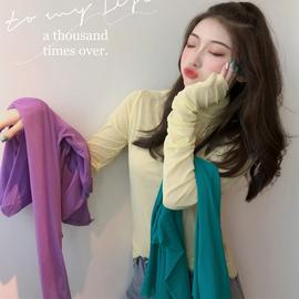 春季2020新款泫雅紫色高领上衣网纱透视内搭打底衫防晒长袖T恤女