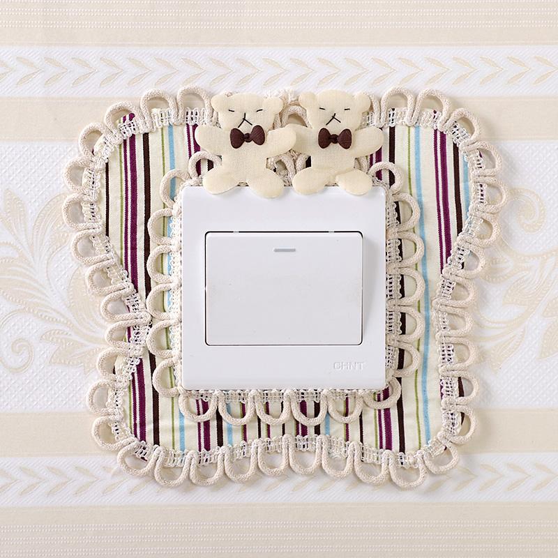 布艺开关贴墙贴保护套创意欧式客厅卧室双开灯插座装饰套简约现代