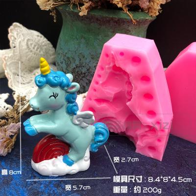 3d立体可爱独角兽摇摇马 圣诞小麋鹿硅胶模具慕斯巧克力冰激凌模