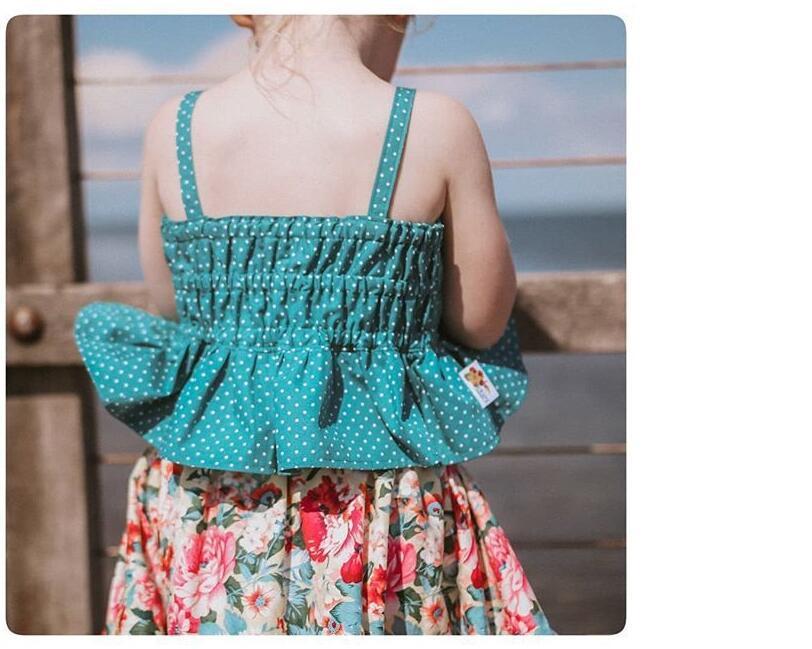 2019夏季新款ins童装女童宝宝小波点吊带花朵裙童套装儿童两件套