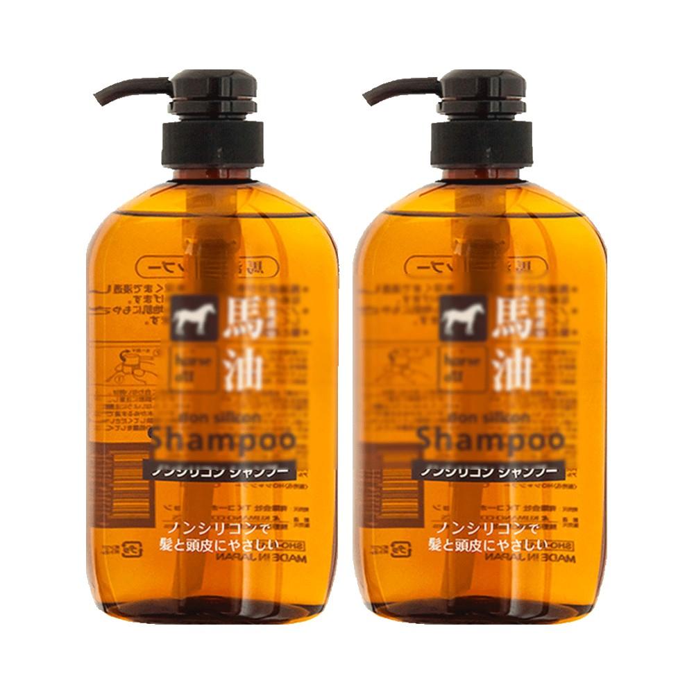 日本熊野油脂进口马油滋润无硅洗发水温和去屑洗发露600ml*2瓶