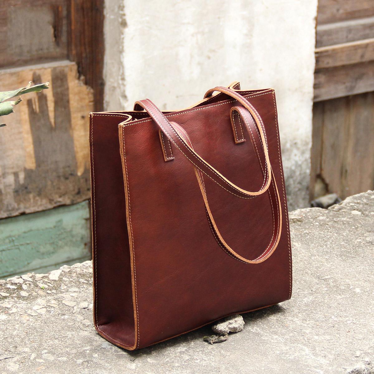 阿咖原創設計真皮簡約牛皮單肩女包歐美個性手工大包時尚手提包