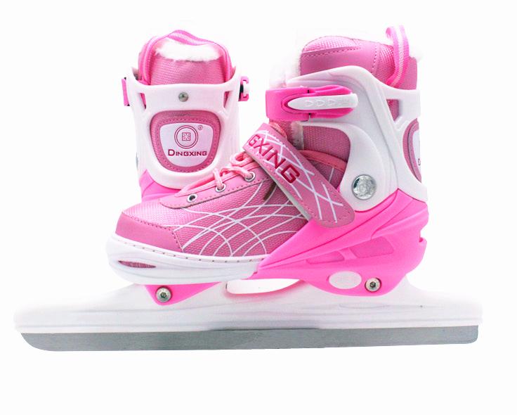 鼎新速滑冰刀鞋儿童伸缩码冰刀鞋加毛保暖球刀鞋速滑冰鞋开课冰鞋