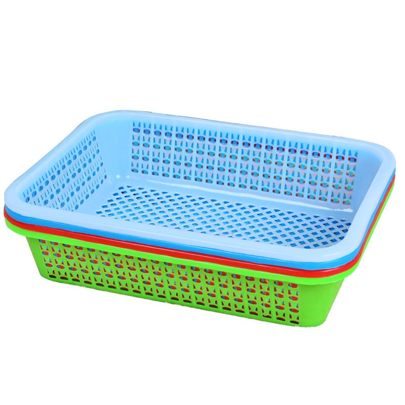 长方形麻辣烫熟胶塑料筐沥水洗菜篮子超市幼儿园玩具收纳篮果蔬篮