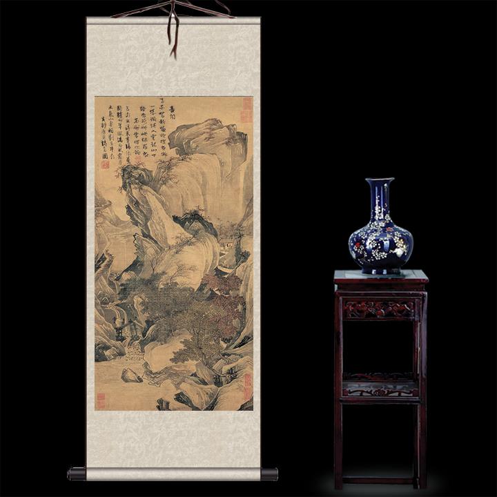 唐寅聽泉圖唐伯虎真跡高清復制絲綢畫卷軸畫水墨畫絲綢禮品可定制