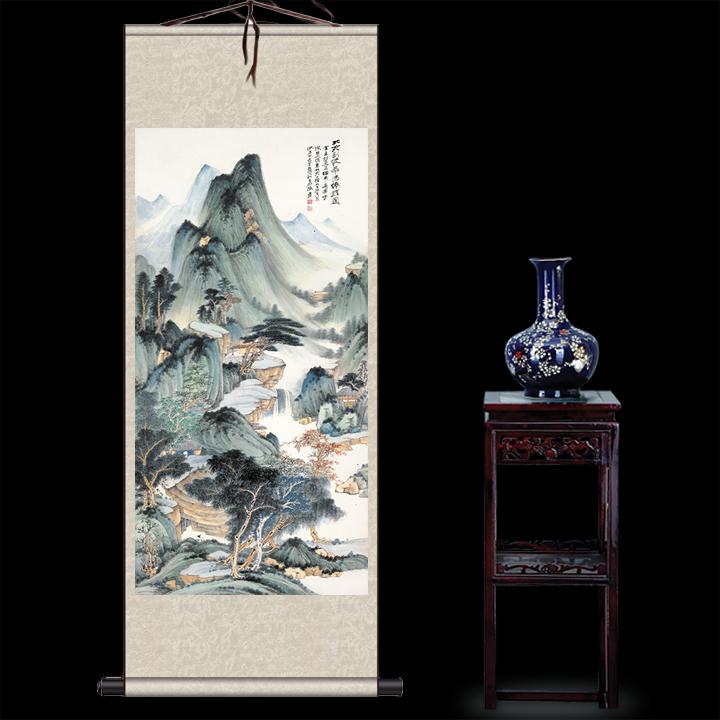 張大千月桂飄香絲綢畫卷軸畫辦公室掛畫國畫古董書法字畫裝飾畫