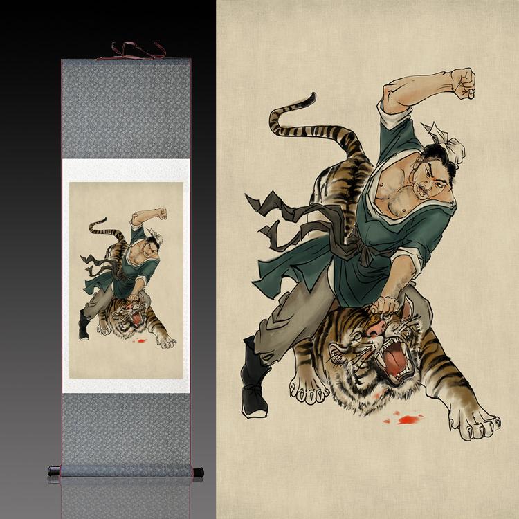 武松打虎卷軸畫絲綢畫水滸人物國畫水墨畫絲綢禮品可定制已裝裱