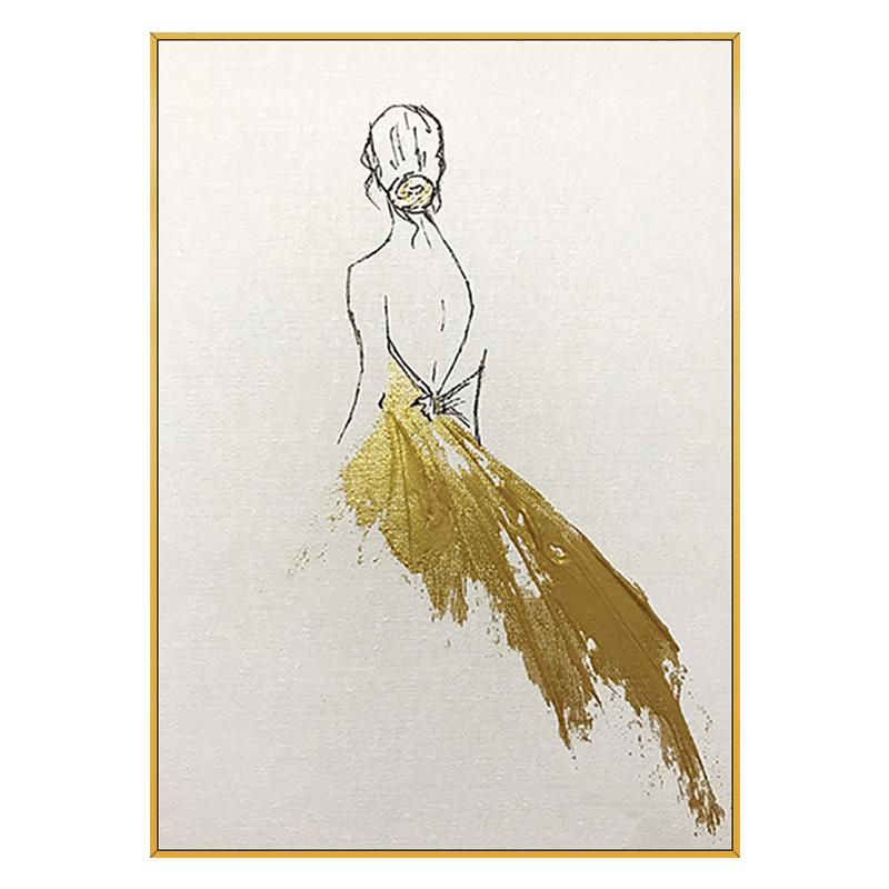 手繪油畫 現代簡約唯美人物背影金箔裝飾畫 優雅少女 玄關掛畫
