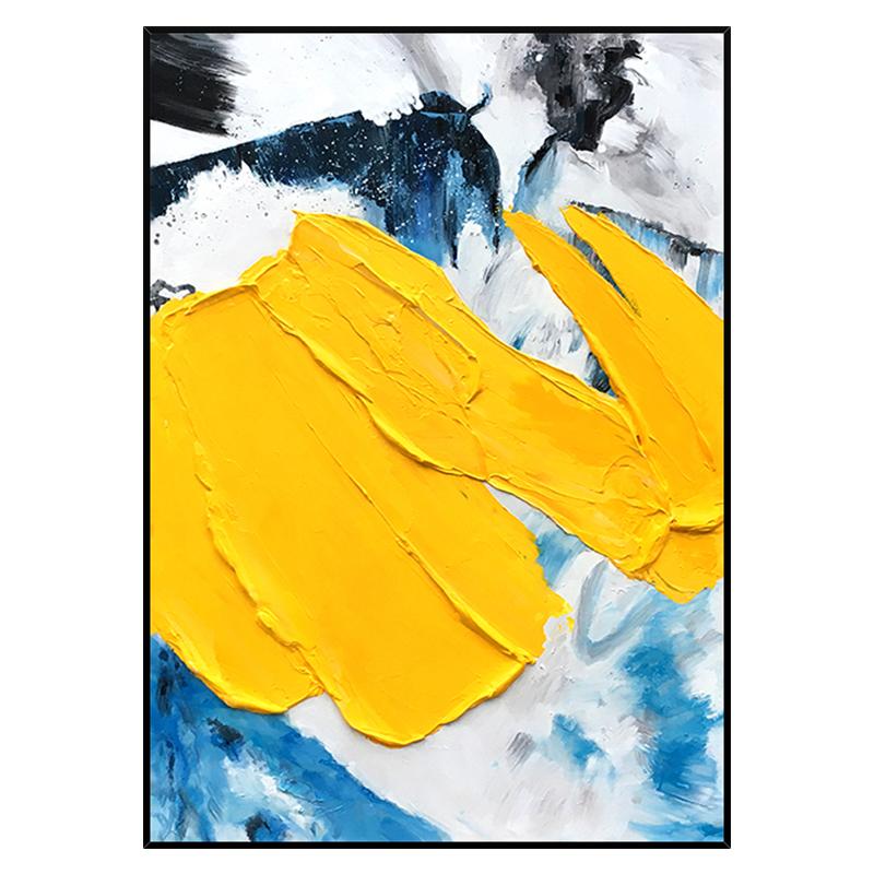 手繪油畫 現代簡約抽象立體藝術裝飾畫 浪影 玄關過道掛畫 豎版