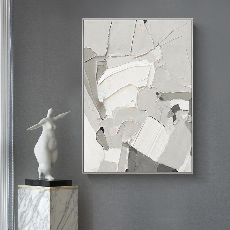 手繪油畫 現代簡約極簡抽象厚肌理裝飾畫 幻域 玄關過道連廊掛畫
