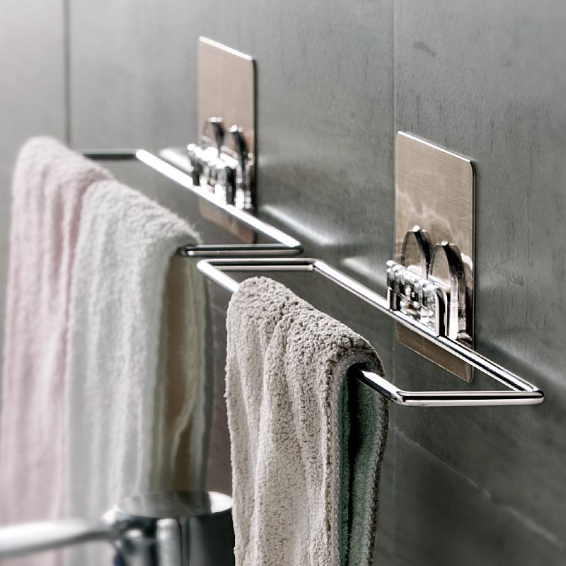 衛生間掛毛巾架免打孔浴巾架吸盤式毛巾杆掛鉤浴室收納架置物架子