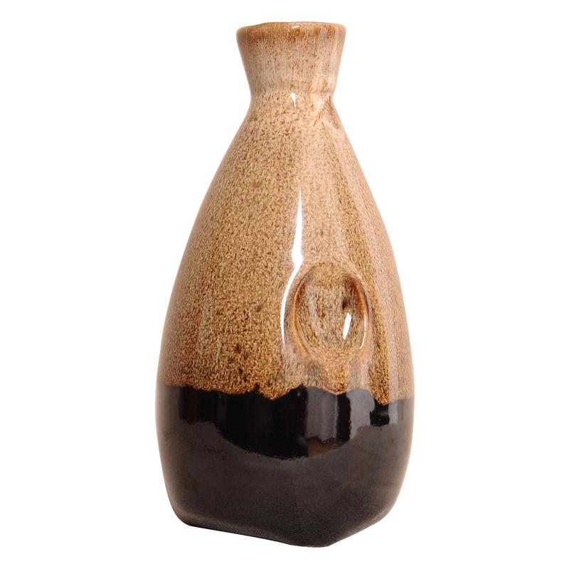 日式陶瓷酒瓶 1斤装土陶酒坛500ml白酒空瓶存酒酒罐插花摆件酒具