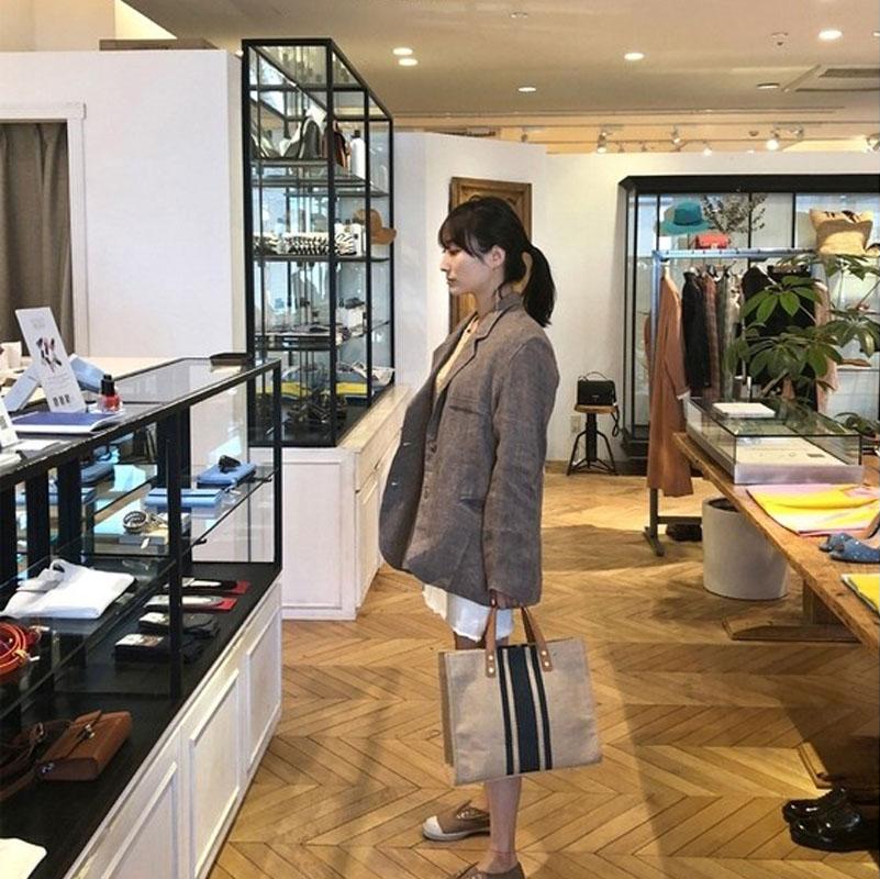 大容量帆布包 ins 韩版女士手提公文包职业通勤条纹简约单肩大包包