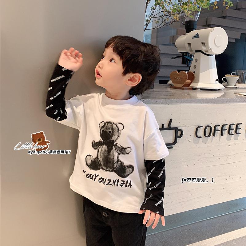 童装假两件男童T恤卡通小熊印花中小童韩版洋气长袖套头