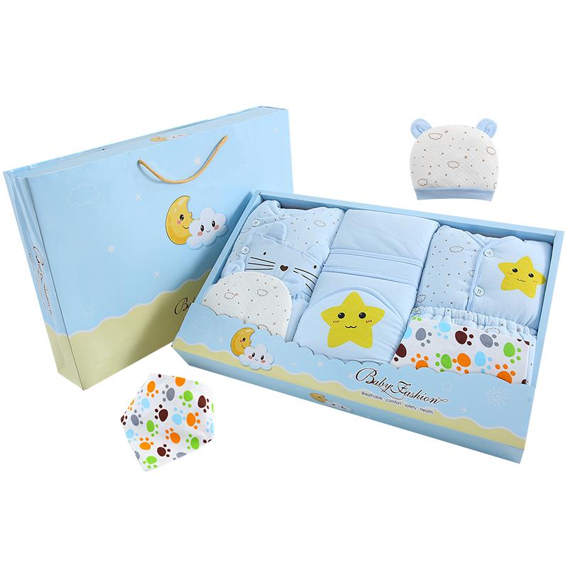 秋冬季纯棉加厚棉服婴儿棉衣服礼盒新生儿礼物套装刚出生初生用品