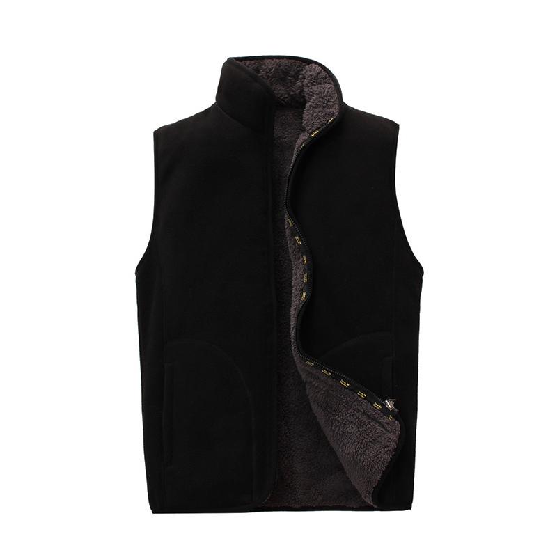 秋冬装加厚加绒双面穿户外抗寒保暖抓绒衣男马甲开衫摇粒绒外套