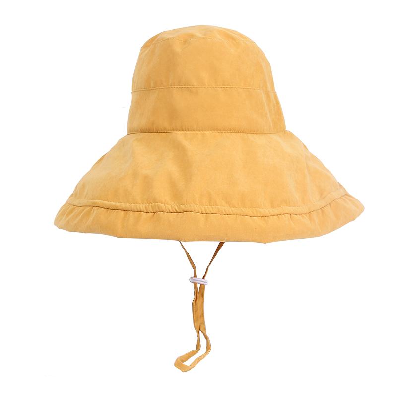 大沿遮阳帽子女夏韩版百搭chic渔夫帽日系纯色盆帽文艺防晒太阳帽
