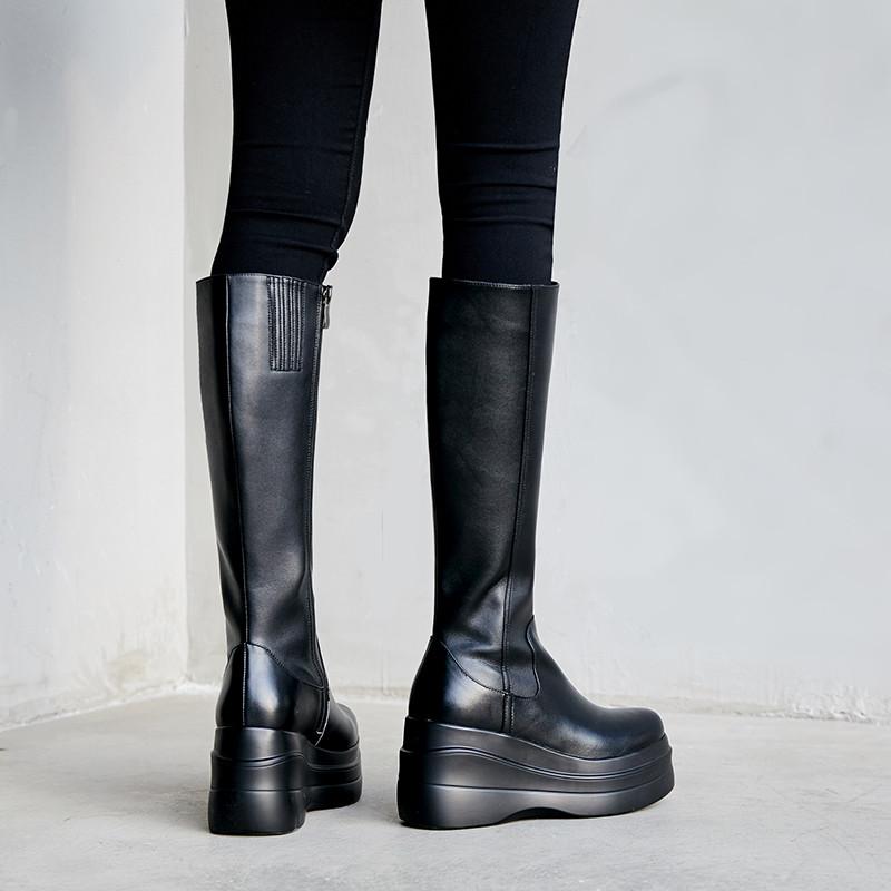 2020冬季新款坡跟真皮厚底黑色高筒靴女高跟防水台百搭不过膝长靴