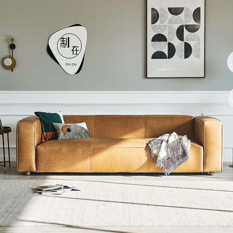 现代极简约真皮苯胺头层牛皮北欧复古油蜡三人皮艺小户型轻奢沙发