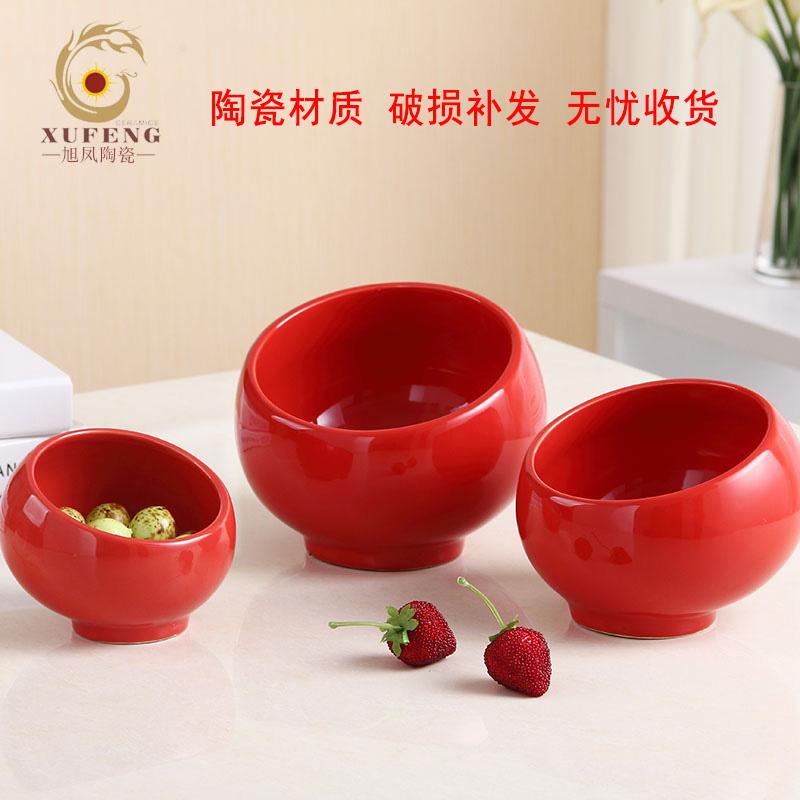 陶瓷商用火锅店酱料斜口球形蘸料沙拉调料碗自助餐具麻辣烫小料碗主图