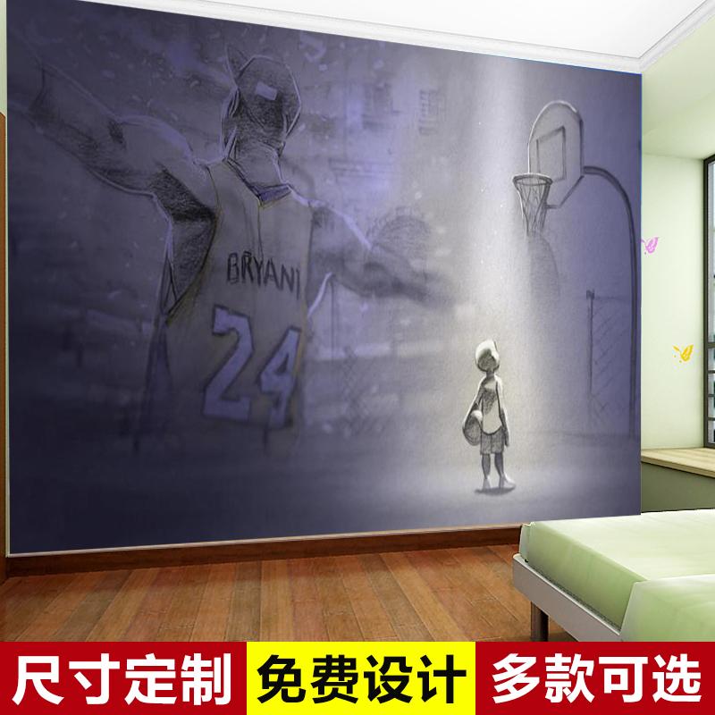 大型篮球壁纸主题卧室运动体育馆背景墙 NBA 年科比海报墙纸 20 蜕变