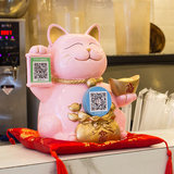Creative Lucky Cat Decoration Opening Gifts Giveaway QR Code Shop Opens Practical Large Cashier Decoration