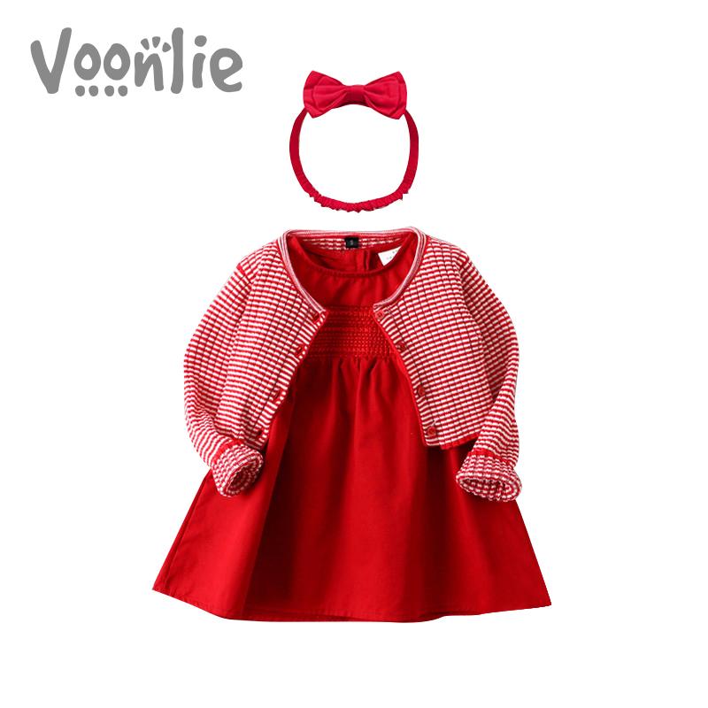 凡猎童装女宝宝秋冬公主裙子红色连衣裙婴儿百天周岁生日洋气礼服