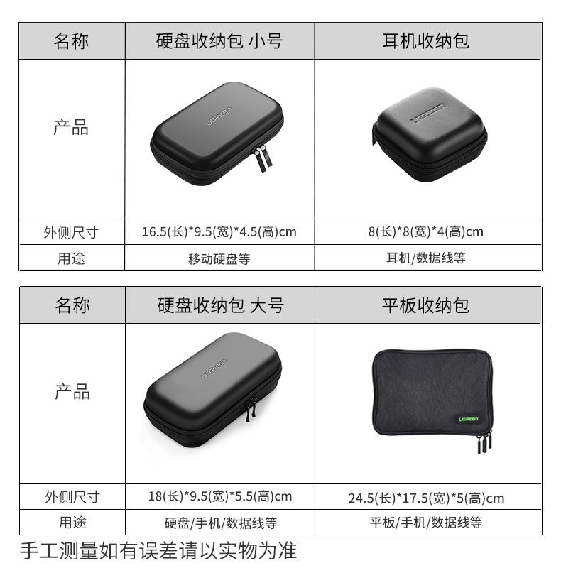 绿联移动硬盘包2.5寸笔记本电源线收纳盒旅行便携多功能耳机数据线鼠标数码收纳包充电宝移动电源u盘保护套子