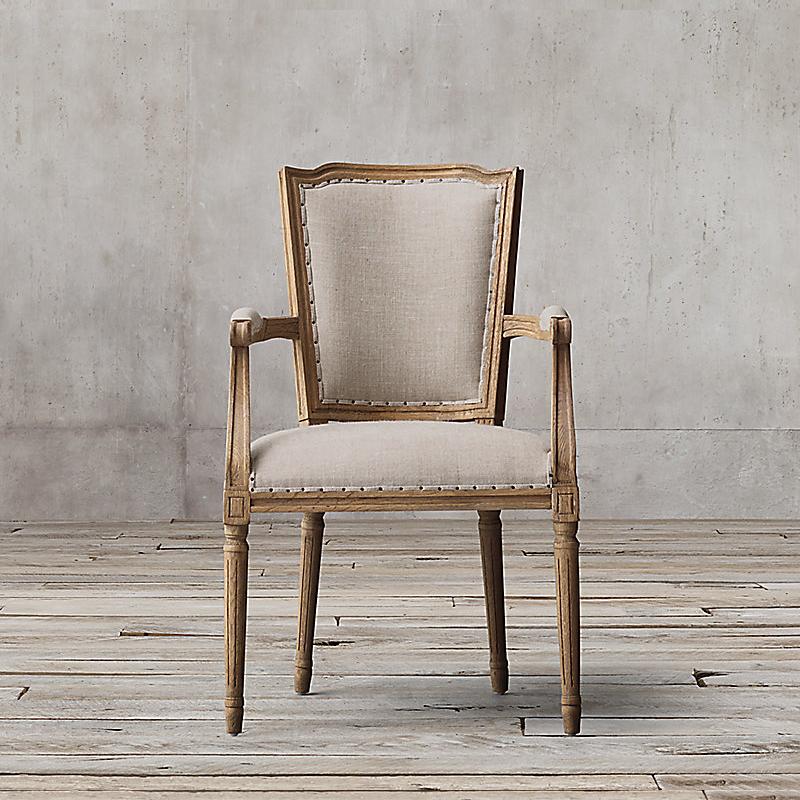 乡村色书_美式乡村实木餐椅欧式餐桌椅复古做旧带扶手书桌椅酒店咖啡厅椅子