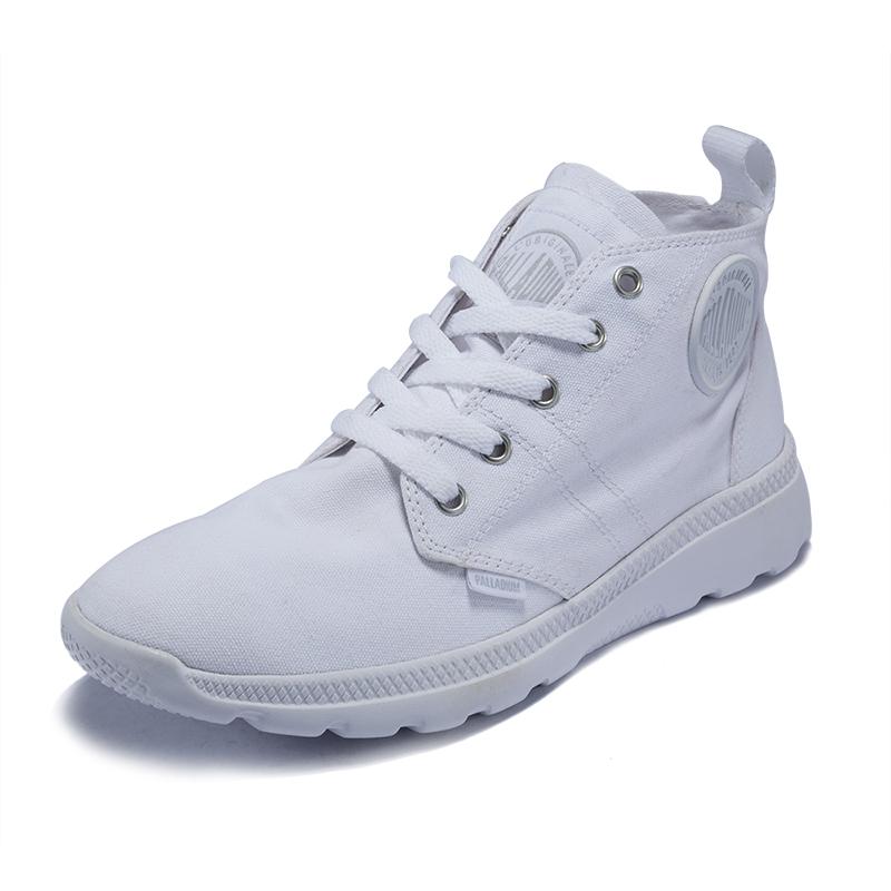PALLADIUM帕拉丁情侣男女鞋中高帮帆布鞋轻便休闲运动小白鞋75418