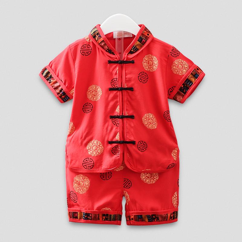 婴儿童唐装汉服抓周衣服1-3周岁宝宝短袖纯棉两件套 男童夏装套装