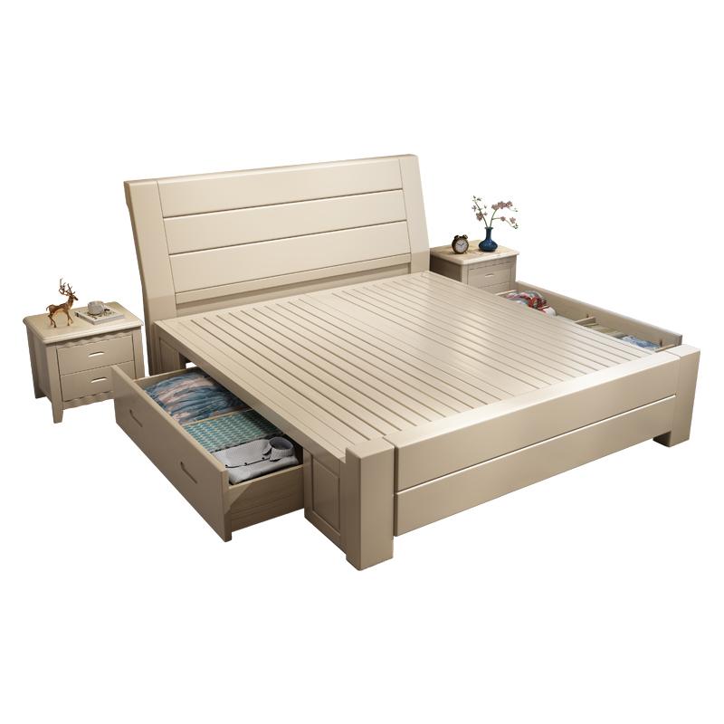 米储物床一米八床经济型 1.8 米白色现代简约主卧双人床 1.5 全实木床
