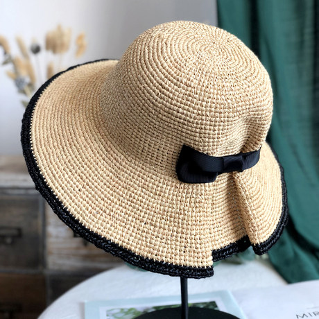 Handmade flowers straw hat female summer small fresh beach hat wild travel hat female summer travel sunshade holiday hat Color : C, Size : One size