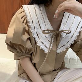韩国chic甜美洋气翻领蕾丝花边拼接系带蝴蝶结设计宽松泡泡袖衬衫