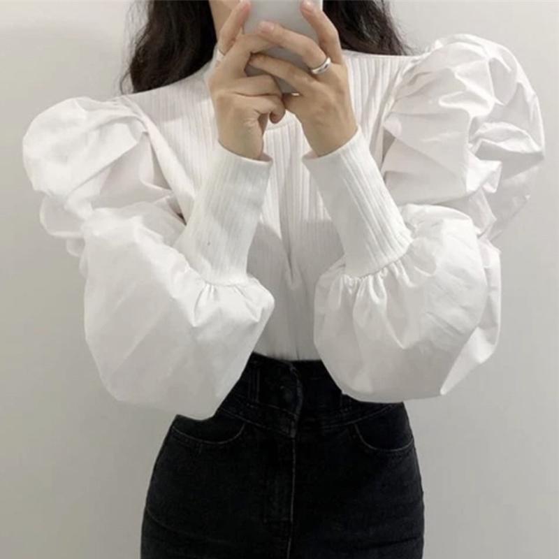 韩国ins早秋宫廷风圆领螺纹拼接设计感收口泡泡袖修身衬衫上衣女