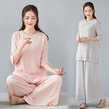 Zen meditation women's suits spring and summer meditation cotton and linen Chinese lay clothes tops Zen Chinese style Tang suit retro tea service