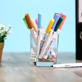 包邮得力文具S506彩色多彩涂鸦绘画易擦教学儿童12支袋白板笔