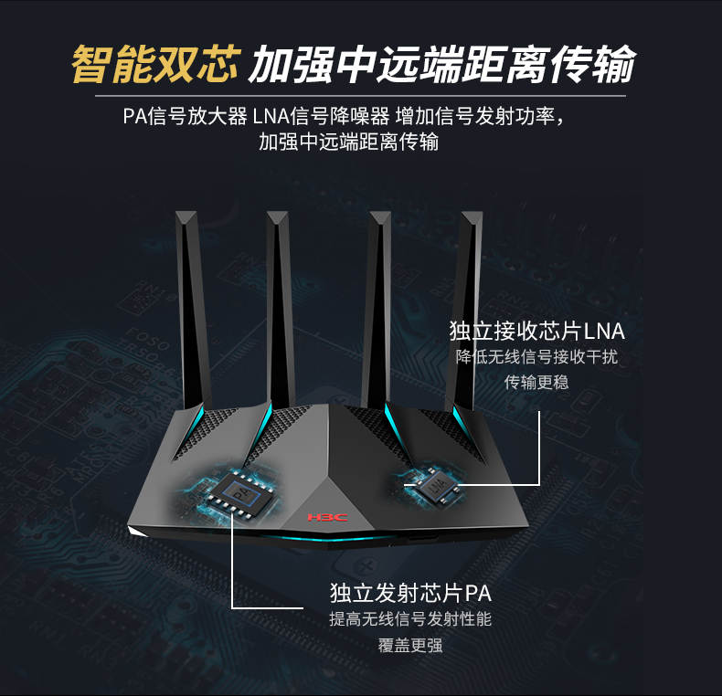 新华三电竞路由器高速智能双频无线千兆企业级游戏加速路由器 H3C