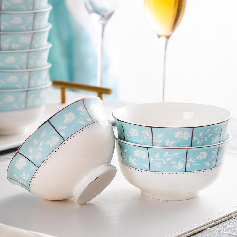 景德镇陶瓷餐具吃饭碗10个家用筷子米饭碗单个碗碟套装微波炉专用