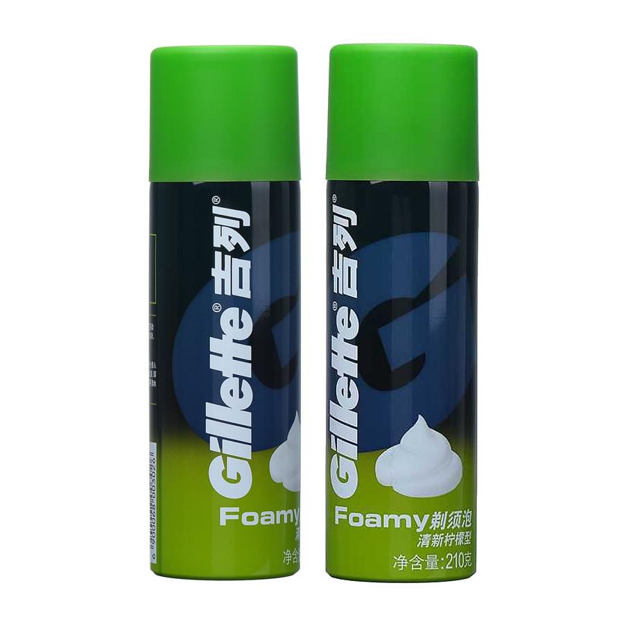 吉列清新檸檬刮鬍泡沫210g兩瓶 手動剃鬚前溼潤鬍子男士面板正品