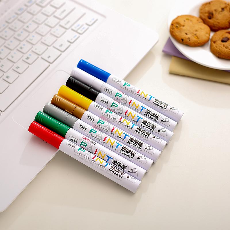 包邮12只得力油漆笔S558补漆笔签到笔黑白金色油漆笔记号笔轮胎笔