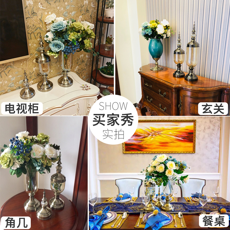 美式餐桌装饰品欧式花瓶摆件玻璃仿真花客厅插花样板间电视柜摆设