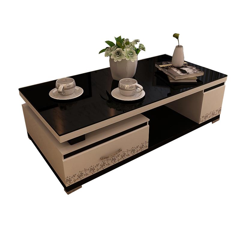 烤漆茶几简约现代大小户型1.5米钢化玻璃 客厅包邮家具 黑白茶几