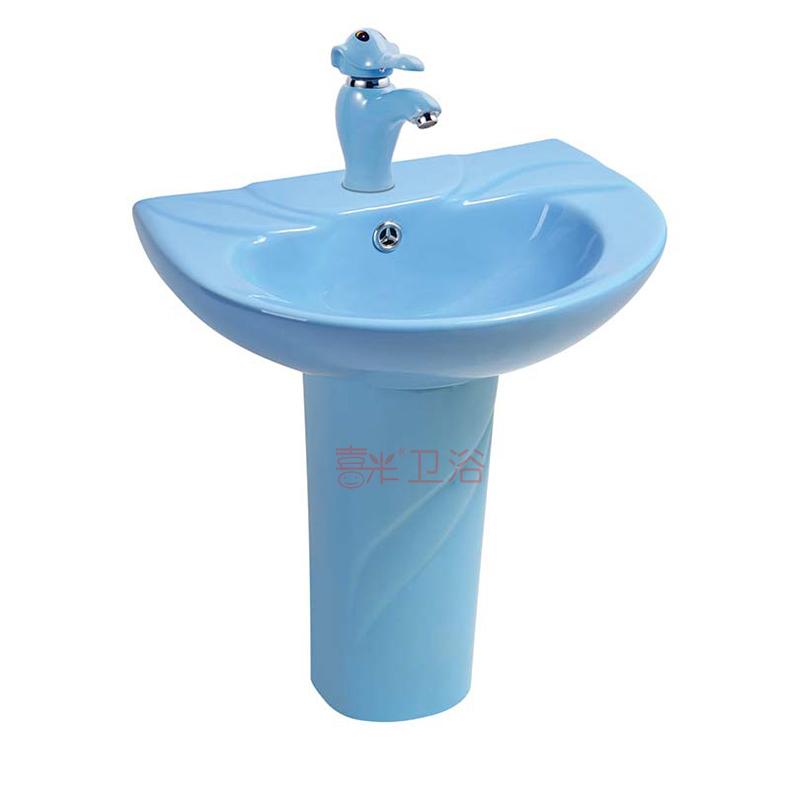 儿童彩色立柱盆陶瓷洗手盆洗脸盆卡通落地式幼儿园小孩洗手台