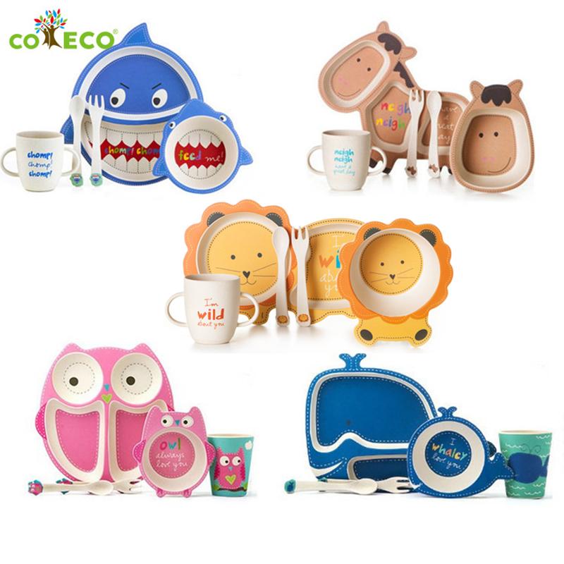 出口美国儿童餐具套装宝宝餐盘分格竹纤维卡通家用婴儿辅食碗勺叉