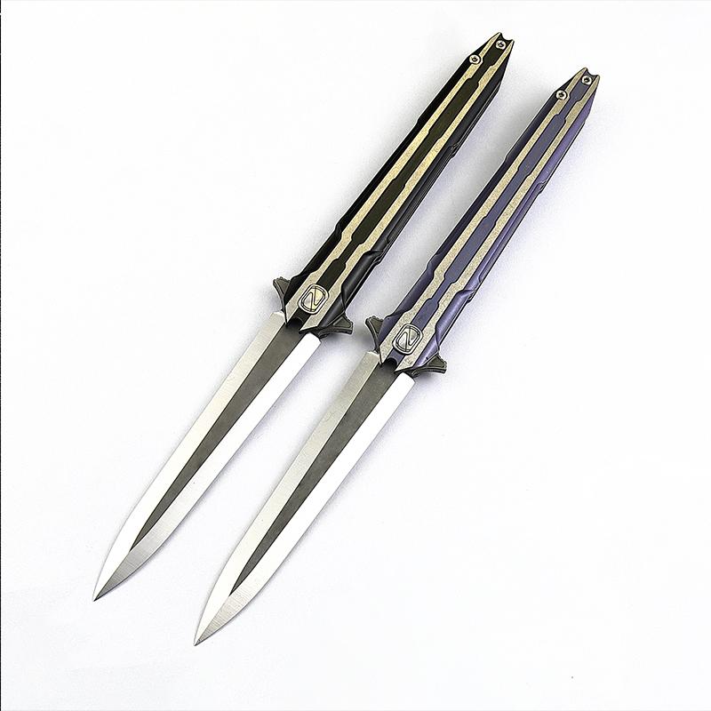正品折叠工具刃户外求生刃高硬度便携防身小刃 粉末钢随身折刃  M390