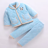 Children's coral fleece pajamas winter baby three-layer thick padded cotton suit girls boys flannel home service